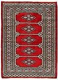 CarpetFine: Pakistan Buchara 2ply Teppich 94x149 Braun,Rot - Handgeknüpft - Ornament