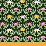 Soimoi Green Poly Georgette Stoff Quarterfoil & Water Lily