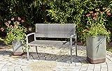 VARILANDO Gartenbank Parkbank Sitzbank 2-Sitzer aus Kunststoffgeflecht und Aluminium in dunkelgrau
