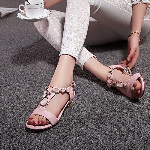 Version Coréenne Sweet Femme Sandales Talon Plat Chaussures Chaussures De Plage Belle Étudiante Un Mot Chaussures Dame Boucle Rose