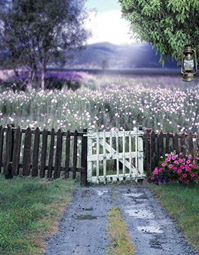 A.Monamour 5X7Ft Vinyl-Stoff Lila Lavendel Blume Feld Land Blauer Himmel Landschaft Natur Landschaft Thema Fotografie Hintergründe