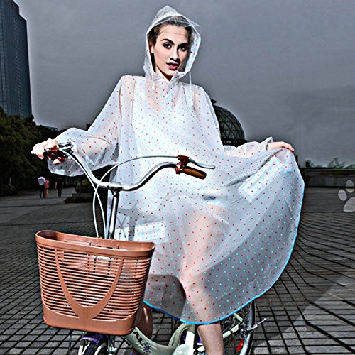 Sasairy Damen Regenponcho Mit Langen Ärmeln Tragbar EVA Regenmantel mit Muster Polka Dots für Fahrrad/Motorrad/Reisen/Camping/Wandern Blau