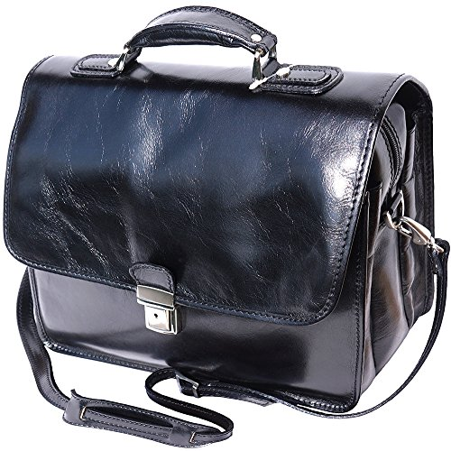 Cartable Porte-document Serviette bandoulière porte notebook en cuir avec 3 compartiments 7615 Noir
