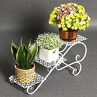 CJH Soporte de Flores de Hierro Forjado Balcón Creativo de Tres Pisos Estante de Flores Sala de Estar Estante del pote Oficina del Piso Interior y Exterior Pequeñas Flores Blancas