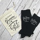 Personalisierbare Socken für den Bräutigam mit personalisierbarer Geschenktasche