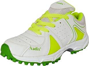 Aadix Sports Zuri-1099 Boys' Cricket Shoes (White & Parrot)