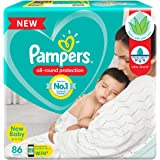 Pampers All round Protection Pants, New Born, Extra Small size baby diapers (NB,XS) 86 Count, Anti Rash Diapers, Lotion with