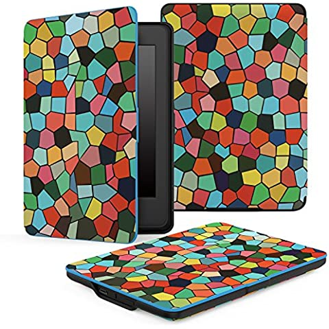 Kindle Paperwhite Funda, Moko Premium Thinnest And Lightest Leather Cover With Auto Wake / Sleep For Amazon All-New Kindle Paperwhite (Fits All 2012, 2013 And 2015 Versions), Stained Glass