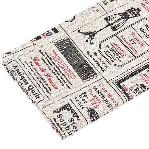 Foto de Tela de algodon retro de lino para tapizar sillas descalzadoras para manualidades, costura cojines guirnaldas 96 cm x 50 cm .de OPEN BUY