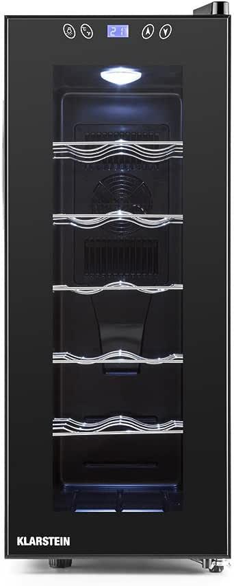 Klarstein Vinamora - Frigorifero per Vini e Bevande, 35 L, 12 Bottiglie, LED, Classe Energetica B, 11 o 18°C, 70 Watts, 5 Ripiani in Acciaio Inox, Display LCD, Pannello Touch