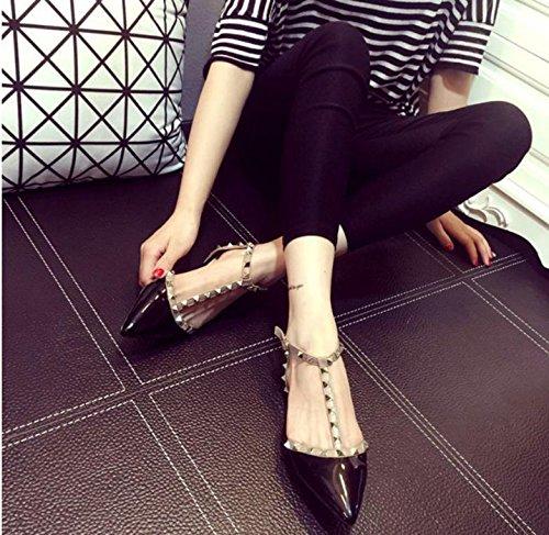 GS~LY Damen Schuhe t-Schnalle niet spitz Lackleder flache Schuhe Black