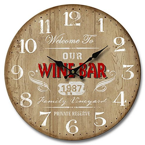 Horloge murale design de cuisine Deko Holz impression affichage de l'heure analogique blanc pointeur rouge BHP B991744