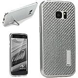 URCOVER® Housse Carbon + Alluminium Véritable Ultra Léger | Samsung Galaxy S7 Edge | argent | Élegant Coque Protection Fermeture Vissée Cover Case Compléte