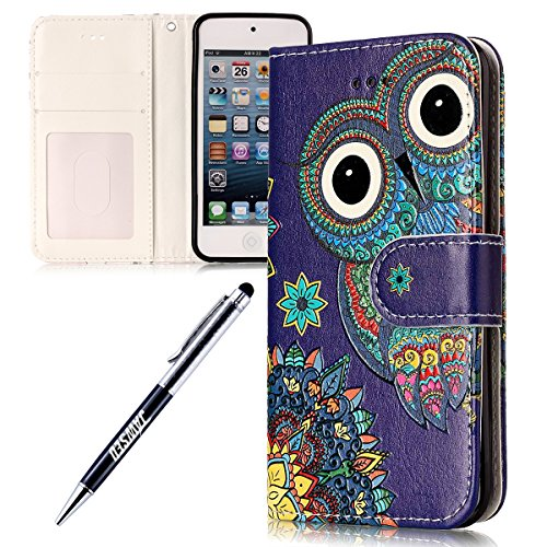 Kompatibel mit iPod Touch 5 Hülle iPod Touch 6 Hülle Muster Pu Leder Brieftasche Hülle Flip Tasche Handyhülle Wallet Case Handy Schutzhülle Kunstleder Cover Nationale Eule (Ipod 4. Generation Eule Case)
