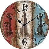 Artigianato del legno antico orologio americano in ferro battuto orologio retrò stile muro grafici grande parete in legno orologio diametro 34/40/50/60 cm,B,24 pollici