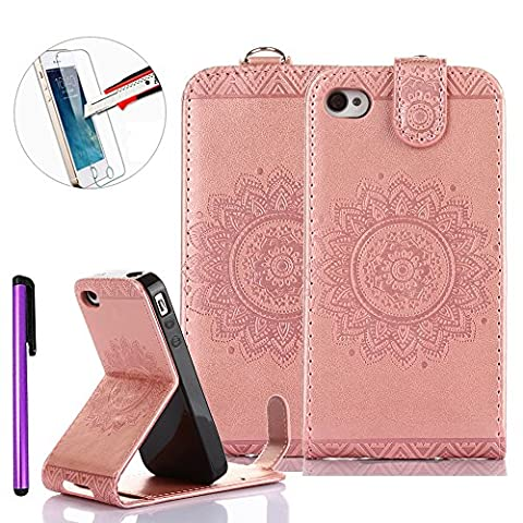 iPhone 4S Case,iPhone 4 [Vertical Flip] Case,NEWSTARS Retro Elegant Unique Mandala Flower Pressed Flower Premium PU Leather Magnetic Flip Cover [Up-Down Flip] Protective Pouch for Apple iPhone 4 / 4S [+ 1Pcs Stylus Touch Pen+ 1Pcs Screen Protector].Mandala Light