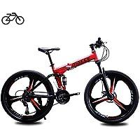 B-D Faltrad Fahrrad Unisex Student Faltbares Mountainbike, Rahmen aus Kohlenstoffstahl, 21 Geschwindigkeit, Stoßdämpfung…