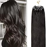 Extension Cheveux Naturel Pose a Froid Anneaux Rajout Naturel Cheveux Humain - 100% Remy Human Hair Extensions Micro Ring (#1B Noir naturel, 22'/55cm, 50g)