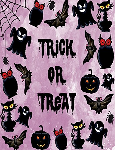 k or treat  in halloween night on purple cover (8.5 x 11)  inches 110 pages, Blank Unlined Paper for Sketching, Drawing , Whiting ... in halloween night on purple sketchbook) ()
