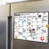 Royalkart Magnetic White Board Planner Sheet (43cm X 33cm) – Dry Erase. Includes 3 Markers & 1 Duster. Can Be Stuck On Refrig