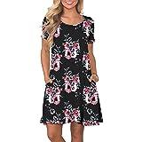 Yookeor Damen Sommerkleid Kurzarm Knielang T-Shirt Kleider Casual Elegant Boho Blumen Strandkleider Freizeitkleid mit Taschen