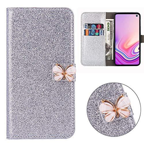 Xifanzi Glitzer PU Ledertasche für Samsung Galaxy S10+/S10 Plus Glänzende Einfarbig Lederhülle Luxus Flip Cover Tasche Folio mit Handyhülle Kartenfächern Standfunktion - Silber