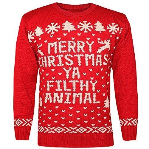 AMOS Unisex Merry Christmas Ya Filthy Animal Weihnachten Neuheit Aufdruck Pulli Retro Vintage Rundhals Sweatshirt Pullover Klassische Gestrickt Winter Top - Rot, Damen, S (Animal Ya Christmas Filthy Pullover Merry)