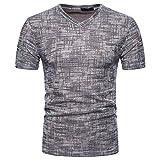 T Shirt Herren, Dasongff Herren Einfarbig Kurzarm Top T-Shirt V-Ausschnitt Pullover Tops Tee Casual Bluse Oberteile Somm