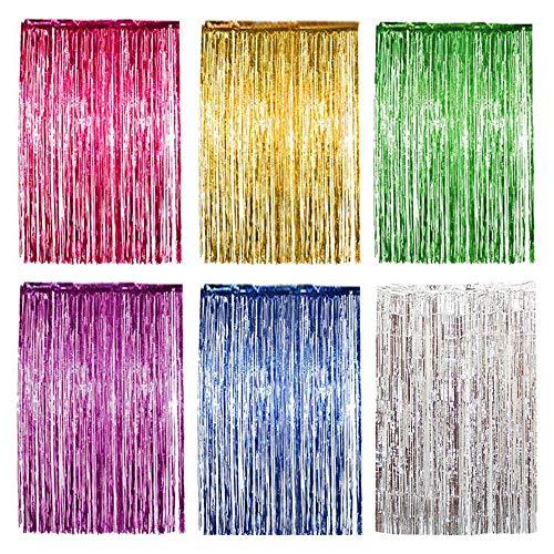 nvorhänge Metallic Lametta Folie Fransen Vorhänge Kulisse Dekorationen für Hochzeit/Geburtstag/Party/Weihnachten/Halloween (6 Farben) ()