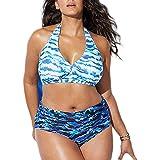 CheChury Mujeres Bañadores de Tallas Grandes Cintura Alta Sexy Push-up Cabestro Traje de Baño Bikini Estampado Bohemio con Ad