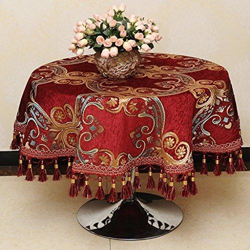 QPG Rouge Style Européen Haute Qualité Pastorale Ronde Nappe De Mode Impression Maison Pastorale Nappes Table Basse Tissu (taille : D120 cm)