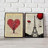 Pack de láminas para enmarcar París Je T'aime. Posters estilo romantico. Decoración de hogar. Láminas para enmarcar. Papel 250 gramos alta calidad