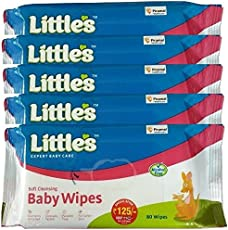 Little's Soft Cleansing Baby wipes (80 count) pack of 5 (aloe vera)