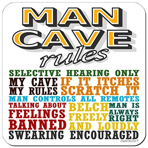 itsperfectfor - Man Cave Rules - Drinks Coaster.