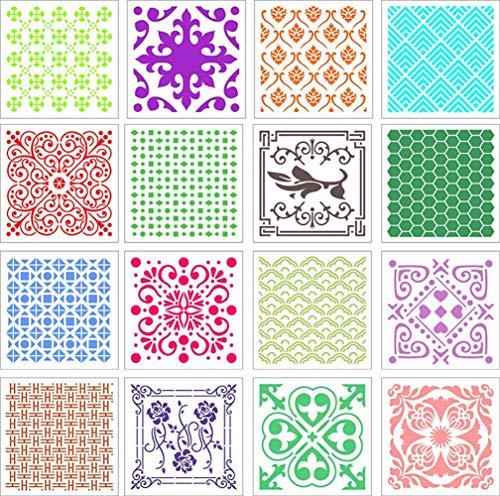 Guwheat 16 Pcs 20x20 cm Großformat Mandala Dot Malschablonen, Vorlagen Zeichenwerkzeuge für Boden/Leinwand/Holzmöbel und Steinmauern Art