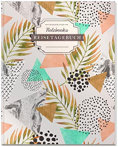 DÉKOKIND Reisenotizbuch zum Selberschreiben | DIN A4, 100+ Seiten, Register, Vintage Softcover | Perfekt als Abschiedsgeschenk | Motiv: Retro-Muster