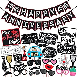Wobbox 25th Anniversary Photo Booth Party Props DIY Kit with 25th Anniversary Bunting Banner, Red Glitter & Black , Anniversary Party Decoration