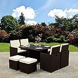 Rattan Cube Garden Furniture Set 8 seater outdoor wicker 9pcs (no parasol hole, Brown)