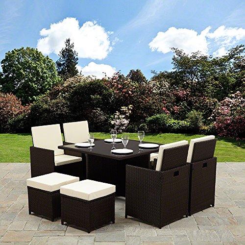 Rattan Cube Garden Furniture Set (8 seater, Brown)