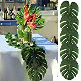 AerWo 12pcs Big Size35X29cm Tropische Palme Blätter Tisch Mats Hawaiian Luau Party Beach Party Dschungel Strand Thema Party Dekorationen Tischdekoration Künstliche Palme Blätter