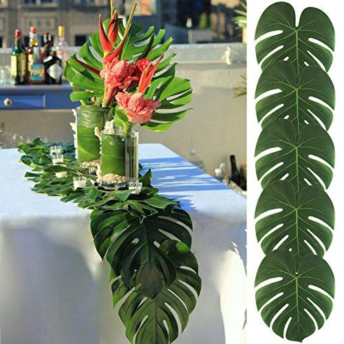 AerWo 12pcs Big Size35X29cm Tropische Palme Blätter Tisch Mats Hawaiian Luau Party Beach Party Dschungel Strand Thema Party Dekorationen Tischdekoration Künstliche Palme Blätter