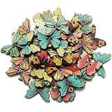 Romote 50pcs 2 Löcher Mixed Schmetterling Holz Knöpfe Annähen Scrapbooking DIY Fertigkeit