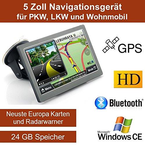 Elebest 12,7cm 5 Zoll Navigationsgerät, mit 24 GB Speicher, Für PKW,LKW,Wohnmobil,GPS,Navigation,Freisprecheinrichtung,Bluetooth,Kostenlose Kartenupdate,Fahrspurassistent,Geschwindigkeitsanzeige,Radarwarner für Mobile und Feste Blitzer.