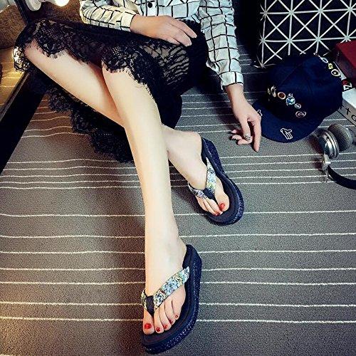 4.3cm summer word drag Chaussures de plage glissantes féminines Chaussons de plein air avec 4 couleurs ( Couleur : #1 , taille : EU36/UK4/CN36 ) #3
