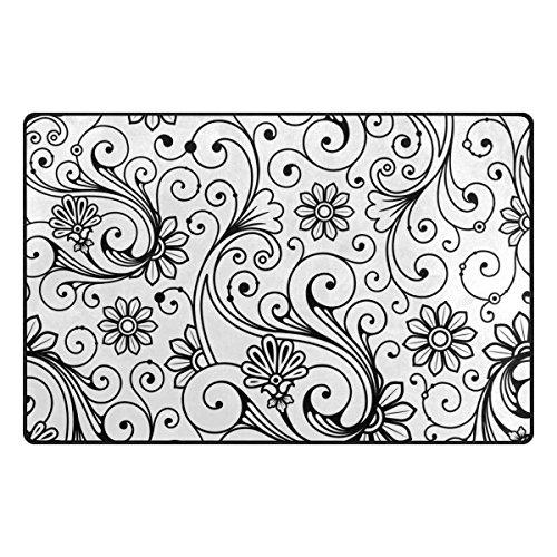 Weiße Blumen Bereich Teppich (My Daily schwarz und weiße Blume Vintage Bereich Teppich 4'25,4cm X 6' 20,3cm–Wohnzimmer Schlafzimmer Küche dekorativ Einzigartiges Shaggy Teppiche, Polyester, multi, 3'3