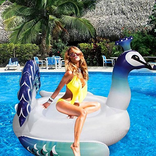 Rexco New Large Peacock Paddling Swimming Pool Lounger Jumbo Giant Childrens kids Adults Rideable Ride on Bird Inflatable Lounge Float Mat Toy
