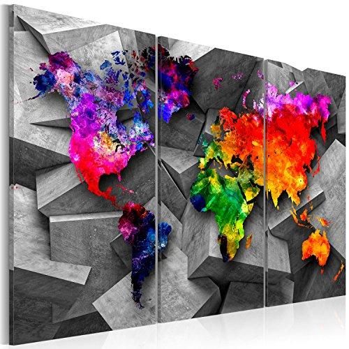 Quadro - grande formato !! 135x90 cm - tre colori da scegliere - quadro su tela fliselina - 3 parti - quadro su tela fliselina - stampa in qualita fotografica – mappa del mondo mappa continente colorito – k-c-0071-b-a 135x90cm