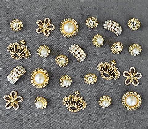 10 Assorted Rhinestone Button Brooch Embellishment Gold Pearl Crystal Wedding Brooch Bouquet Cake Hair Comb