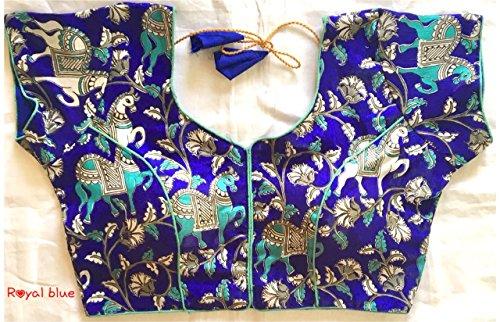 Pujia Mills Banglori Silk Designer Stitched Blouse (pm2202_Royal Blue)