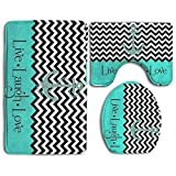 Live Love laugh in türkis Colorblock Chevron mit Anker 3-tlg Soft Bad Teppich Set inkl. Badteppich Contour Teppich Deckel WC-Deckelbezug Home Dekorative Fußmatte